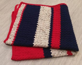 Patriotic Baby Blanket // All American // Crochet // Gender Neutral // Baby Afghan// Red White and Blue // Baby Shower Gift