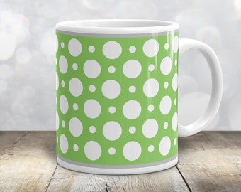 Green Polka Dot Mug - Stylish White Green Polka Dot Pattern - 11oz or 15oz