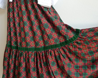 Saint Laurent rive gauche 70s tartan plaid peasant skirt with velvet bands