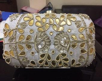 Ivory color Gotta Patti clutch bag