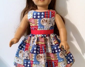 SALE 18 Inch Doll Clothes Patriotic 4th of July Dress  With Red Ribbons Optional Red Mary Janes Fits Like American Girl Doll Clothes