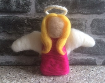 Angel with wings and halo - Angel - Wings - Halo - gift - present - needle felting