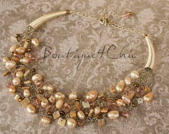Pearl necklace, freshwater pearls, creme pearl necklace, handmade, gift for her