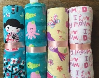 Handmade Flannel Baby Girl Receiving Blankets, Car Seat Blanket- 100% Cotton, 4 Pack