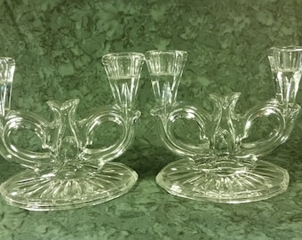 Vintage double candle holders in clear glass set of 2 candlesticks