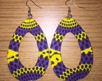 African Print Drop hole Earrings