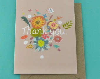 Thank you Greetings Card - Blank Inside