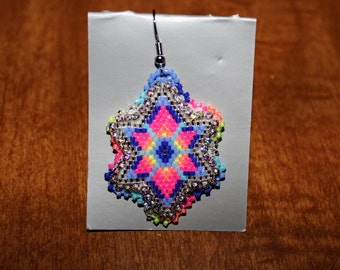 Blue pink blingy star earrings