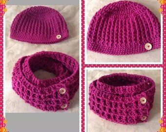 Hat with Matching Scarf - Crochet