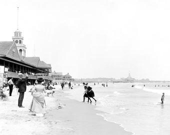 "1900-1910 Narragansett Beach and Pier, RI Vintage Photograph 8.5"" x 11"" Reprint"
