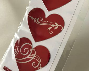 DESTASH: Red and Silver Foil Heart Stickers