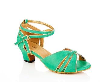 Retro Green Swing dance shoes - Swing, Jive, Salsa, ballroom, Latin, Bridal
