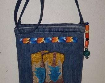 Side Body Western Boots Recycled Denim Purse Handbag