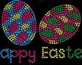 Happy Easter Eggs Rhinestone Iron on Transfer                                                                        R9UN
