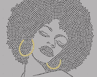 Rhinestone Afro Big Hair Lightweight T-Shirt or DIY Iron On T Shirt Transfer                                            KEK7