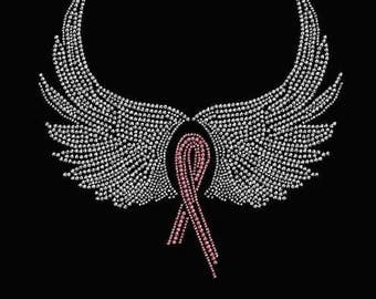 Rhinestone  Breast Cancer Ribbon and Wings Ladies T Shirt or DIY Iron On Transfer     099N