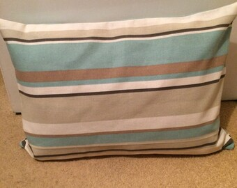 Blue and Beige Striped Cushion Cover
