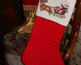 Santa & Reindeer Cross Stitched red quilted Christmas Stocking