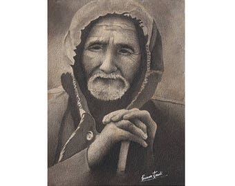 Old Man, looking forward for hope! -   Archival Print from an Original Chinese Ink Painting