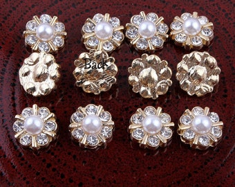 12MM Newborn Mini Shiny Decorative Metal Rhinestone Buttons For Craft Alloy Flatback Pearl Buttons For Flower Centre