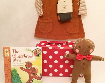 The Gingerbread Man Baby Girl Suitcase Gift Hamper/ Newborn Gift/ Baby Shower Gift/ Baby outfit/ Baby girl dress/ Baby present