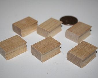 "6 Miniature Wood Books (1"") Dollhouse"