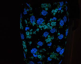 Hand-painted glow in the dark blue roses floral skirt