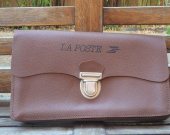 French Leather postal satchel