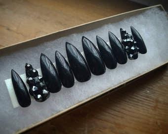 Black and Swarovski nails|Any size or shape|Fake nails|glue on nails|Press on nails|Matte nails|Stiletto nails| False nails| coffin nails|