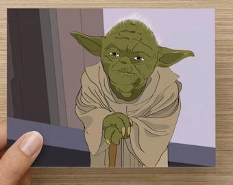 Yoda - Star Wars Greeting card - Birthday - Celebration - pop culture - Movies - Jedi - Master Yoda - Handmade Card  Skywalker Vader Novelty