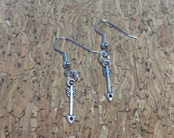 Mini Arrow Earrings Silver Tone