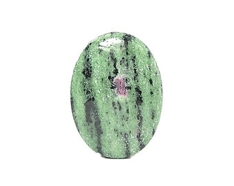 Red Ruby in Green Zoisite Semiprecious Gem Stone Cabochon, aka Anyolite, mined in Tanzania, Loose DIY Craft Jewel, Semiprecious Gemstone