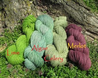 Hand-dyed DK yarn/farm yarn/organic yarn/eco friendly yarn/organic wool/hand painted yarn/2 ply yarn/hand painted yarn/Sport yarn