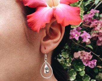 Teardrop within a teardrop sterling silver earrings (R13)