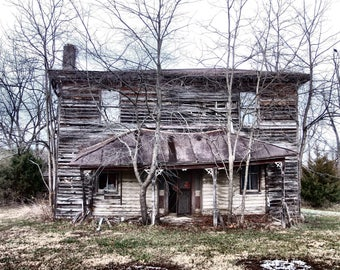 Abandoned House Photography, Abandoned House Print, Old House Photo, Old House Print, Farmhouse Decor, Rustic House Print, Haunted House