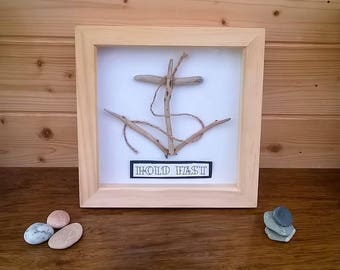 Hold Fast - anchor wall art in beautiful driftwood in a pine box frame
