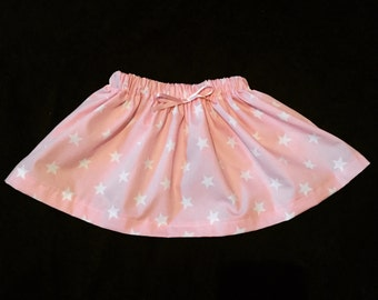 Baby girls skirt - cute - bespoke - stars - baby pink