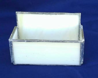 Business card holder, leaded glass, pale yellow