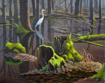 White Egret print