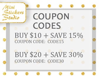 Buy 10 Save 15%, Buy 20 Save 30, Discount COUPON Codes, Printable Planner, Sticker for use with Erin Condren Instant Download Happy planner