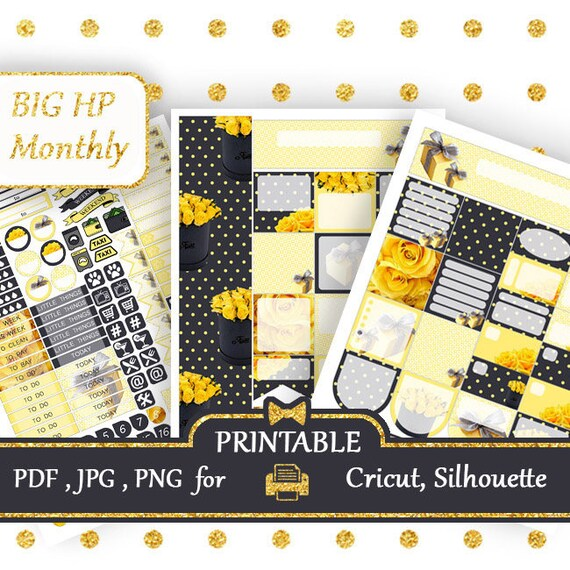 BIG Happy Planner Stickers kit Printable Monthly kit Yellow