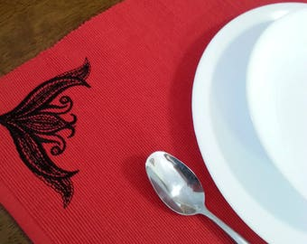 Set 6 Red Blackwork Embroidered Cloth Placemats