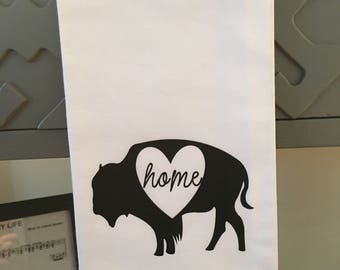 Buffalo Home is Where the Heart IsTea Towel