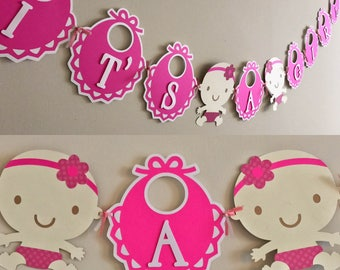 Pink Baby Shower Banner, It's A Girl Banner, Girl Baby Shower, Girl Baby Shower Banner, Baby Shower Banner