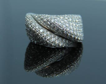 18K White Gold Ring, 2.20 CTW Diamond Statement Ring