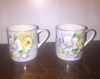 2 vintage Lefton China teacups mugs cups