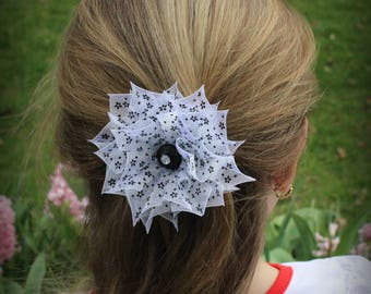 Handmade  White and Black Mini Flowers Organza Hair Clips, Great For Royal Baby Parties, Wedding, Royal Baby Photos,Accessories.