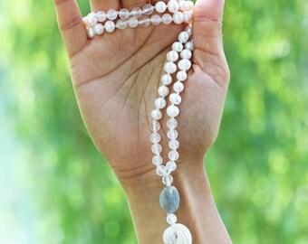 "Natural white pearl, quartz and labradorite mala beads necklace - 31"" inches long - Prayer beads - Handmade tassle"