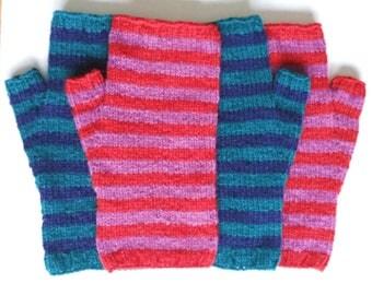 Knitting pattern Striped Springtime Mittens, English Version