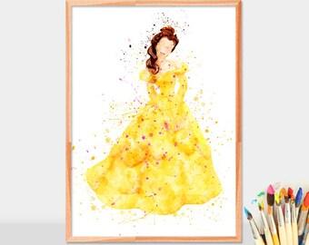 Belle Beauty, Disney Princess, Belle Beauty and the Beast, Wall Art, Disney Art, Watercolor Art Print, Disney Poster, Kids Decor, Artwork